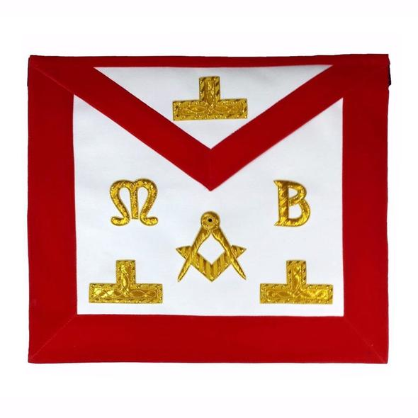 Masonic Hand Embroidered Bullion & Wire Made Master Mason Red Apron - Regalialodge