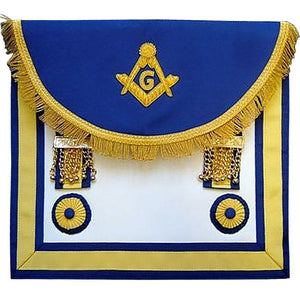 Scottish Rite Master Mason Handmade Embroidery Apron - Blue Yellow - Regalialodge