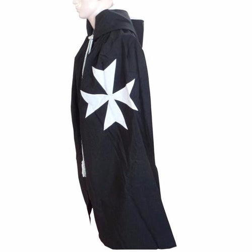 Masonic Knight Malta Cloak Mantle Black with (8 pointed) Maltese Cross - Regalialodge