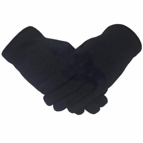 Masonic Knight Templar Plain 100% Cotton Glove Black - Regalialodge