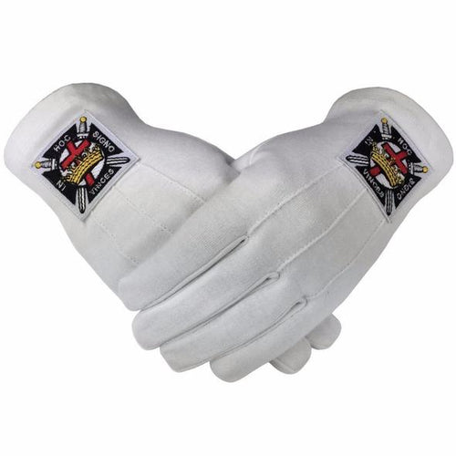 Masonic Knight Templar KT 100% Cotton Machine Embroidery Emblem Glove - Regalialodge