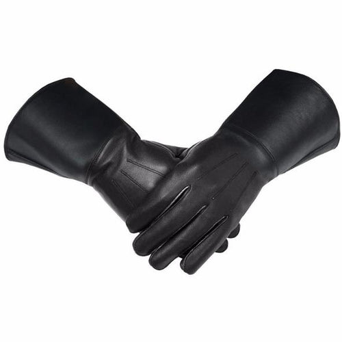 Masonic Piper Drummer Leather Gauntlets/Gloves Black Soft Leather Knight Templar - Regalialodge