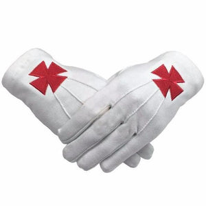 Masonic Knight Templar Red Nordic Cross White Cotton Machine Embroidery Glove - Regalialodge