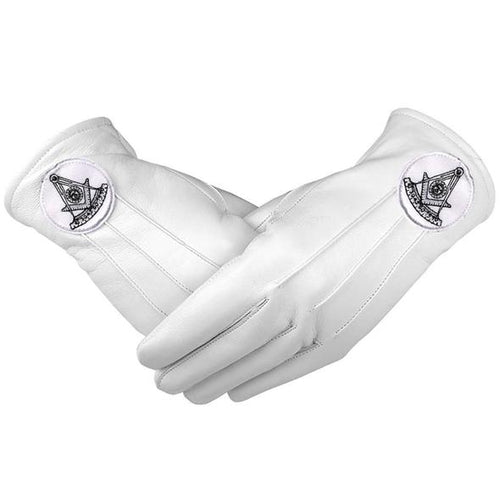Masonic Regalia White Soft Leather Gloves Past Master Black - Regalialodge