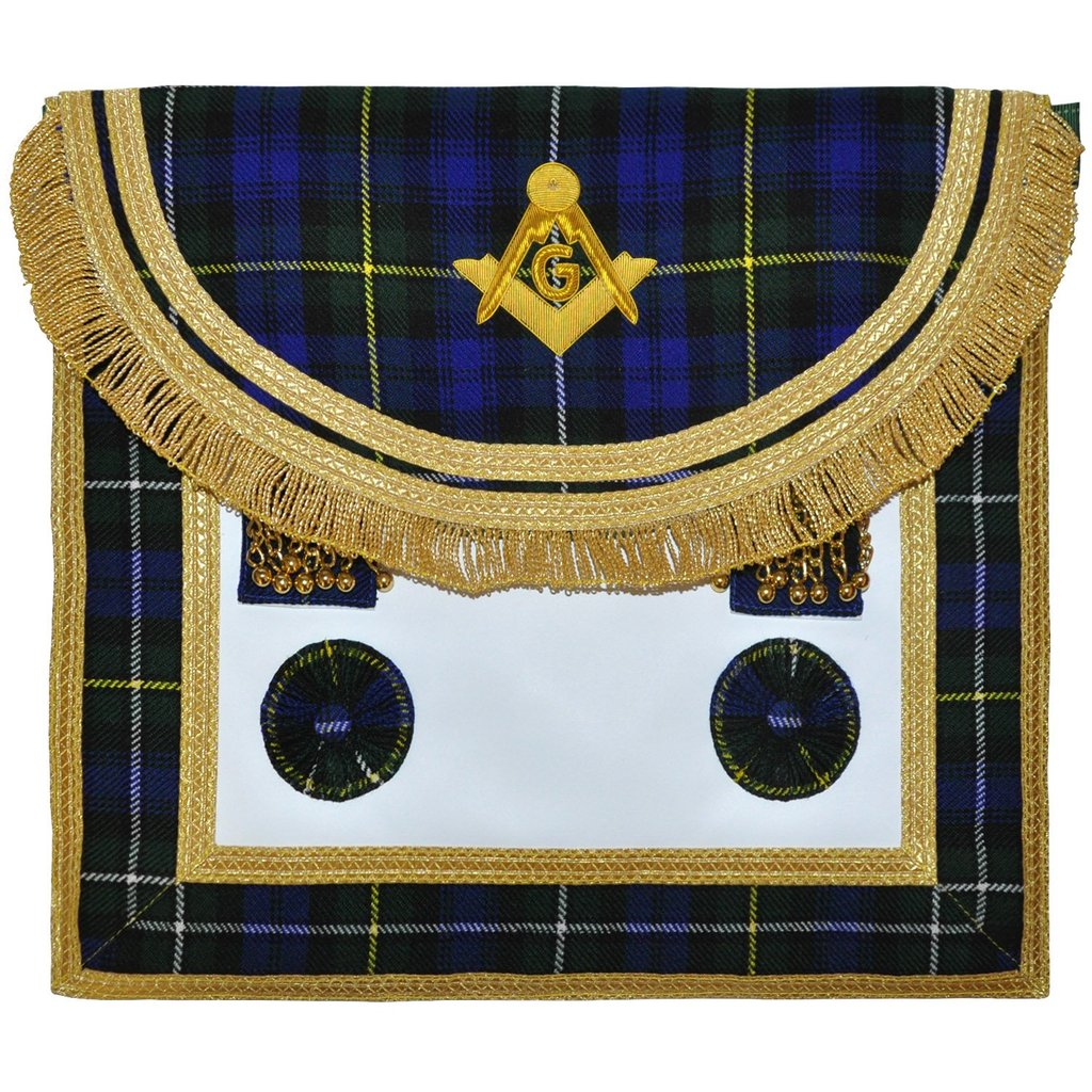 Scottish Rite Master Mason Handmade Embroidery Apron - Striped Blue - Regalialodge
