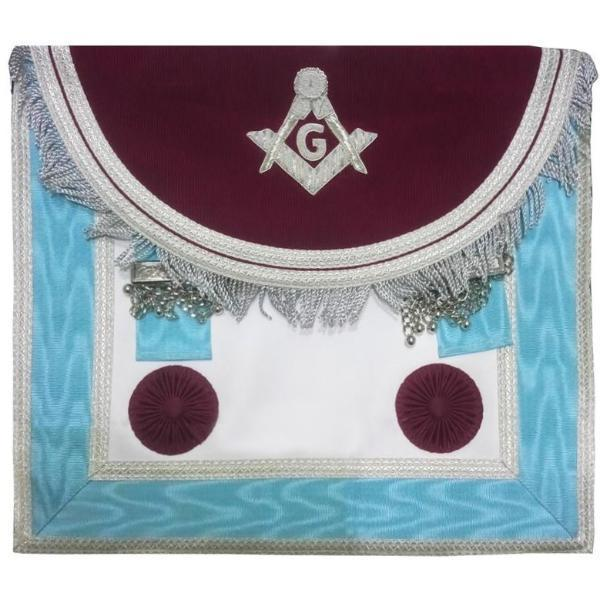 Scottish Master Mason Handmade Silver Embroidery Apron with Rosettes - Brown and Blue - Regalialodge