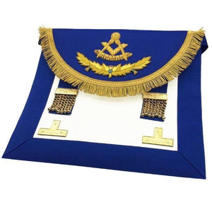 Scottish Rite Past Master Handmade Embroidery Apron - Blue with Vinework - Regalialodge
