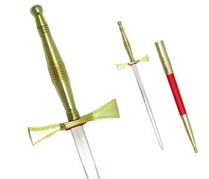 Masonic Dagger with Gold Hilt and Red Scabbard + Free Case
