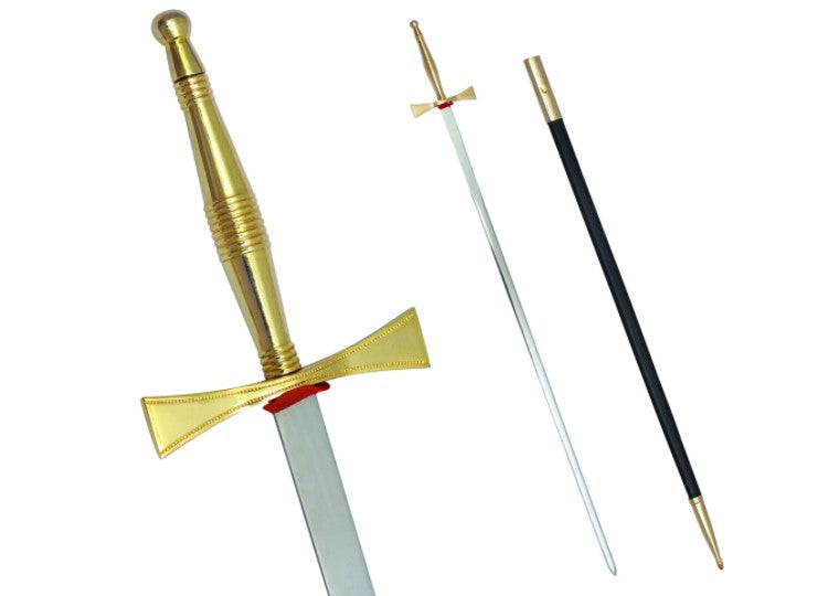 Masonic Sword with Gold Hilt and Black Scabbard 35 3/4