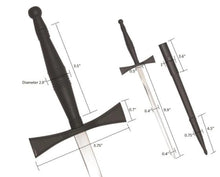 Load image into Gallery viewer, Masonic Dagger with Black Hilt and Black Scabbard + Free Case