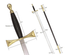 "Load image into Gallery viewer, Masonic Sword with Black Gold Hilt and Black Scabbard 35 3/4"" + Free Case"