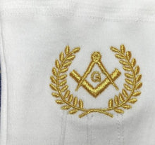 Load image into Gallery viewer, Masonic Cotton Gloves with Machine Embroidery Square Compass and G Gold