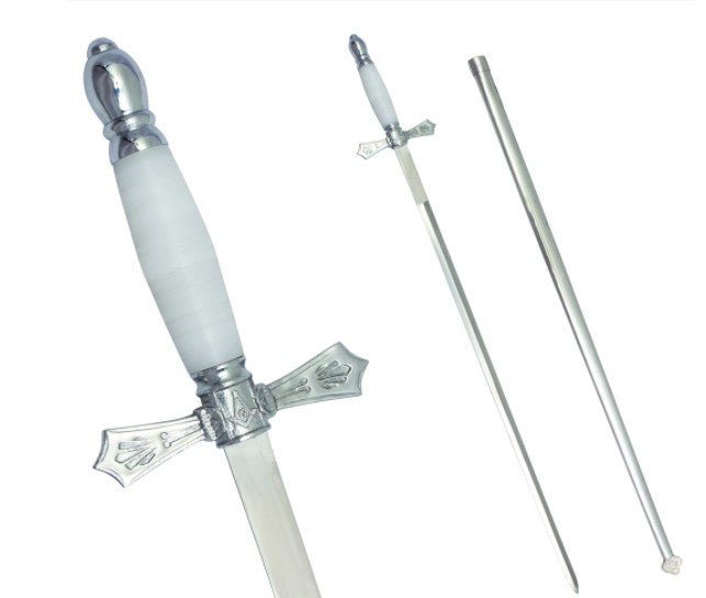 Masonic Sword with White Hilt and Silver Scabbard + Free Case