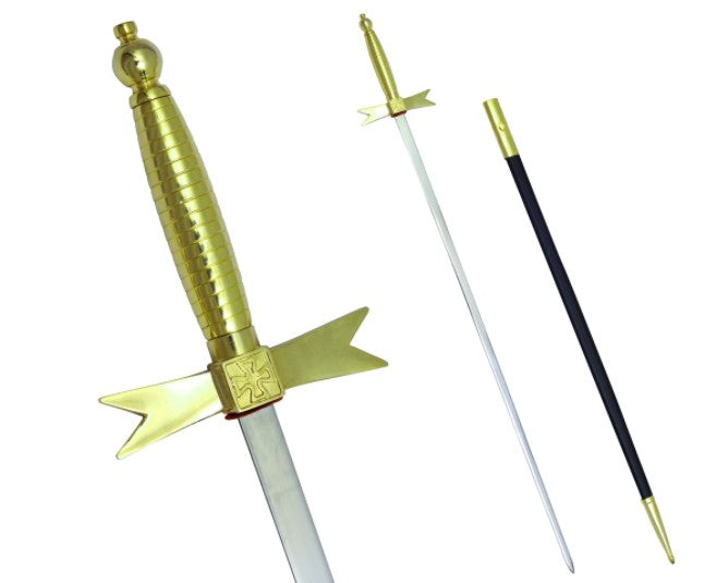 Masonic Knights Templar Sword with Gold Hilt and Black Scabbard 35 3/4