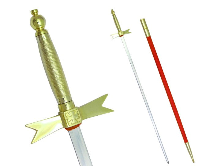 Masonic Knights Templar Sword with Gold Hilt and Red Scabbard 35 3/4