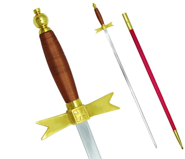 Masonic Knights Templar Sword with Brown Hilt and Red Scabbard 35 3/4