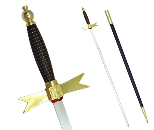 Masonic Knights Templar Sword with Black Gold Hilt and Black Scabbard 35 3/4