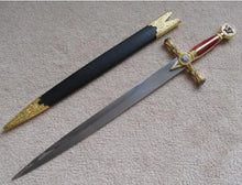 Load image into Gallery viewer, Square Compass Gold Masonic Ceremonial Sword Knife W/ Sheath 25.3""