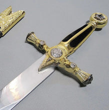 Load image into Gallery viewer, Square Compass Gold Masonic Masonic Sword Knife W/ Scabbard Gold 25.3""