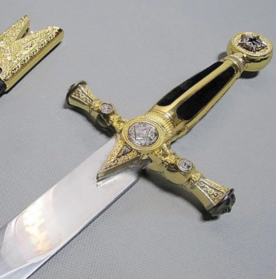 Square Compass Gold Masonic Masonic Sword Knife W/ Scabbard Gold 25.3