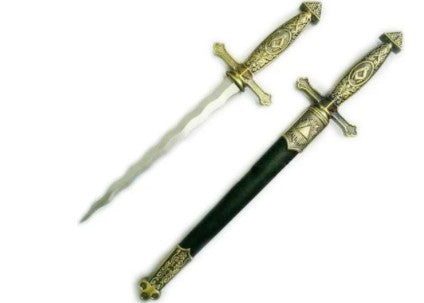 Square Compass Brass Masonic Sword Knife Snake Flaming Blade / Black Scabbard 15.5
