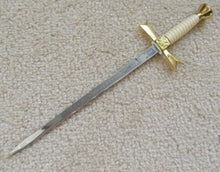 Load image into Gallery viewer, Gold Masonic Sable Fornitura Knob Ceremony Sword Knife W/ Scabbard Stand 12""