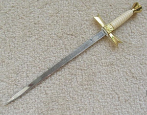 Gold Masonic Sable Fornitura Knob Ceremony Sword Knife W/ Scabbard Stand 12""