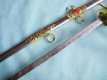 Load image into Gallery viewer, Knight of St. John Templar Masonic Red Cross Sword Gold 35.6""