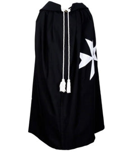 Masonic Knight Malta Cloak Mantle Black with (8 pointed) Maltese Cross