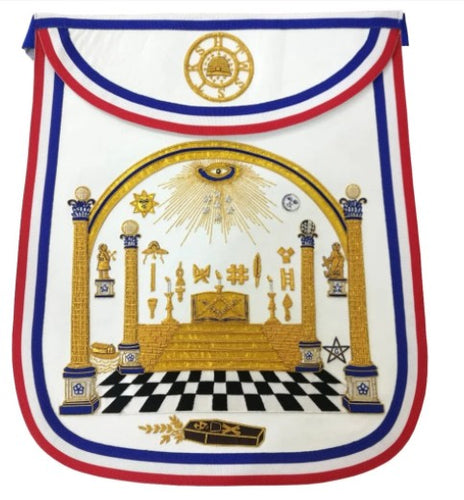Bro. George Washington Masonic Apron Hand Embroidered Masterpiece