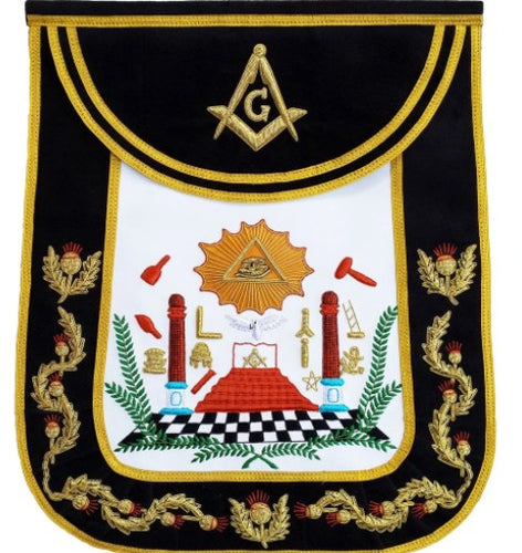 Masonic Traditional Master Mason Round Apron Bullion Hand Embroidered