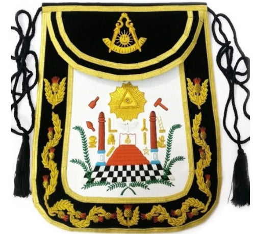 Masonic Traditional Past Master Round Apron Bullion Hand Embroidered
