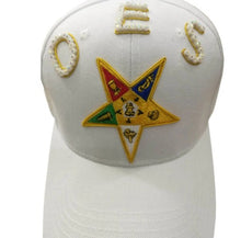 Load image into Gallery viewer, OES Order of the Eastern Star White Baseball Cap