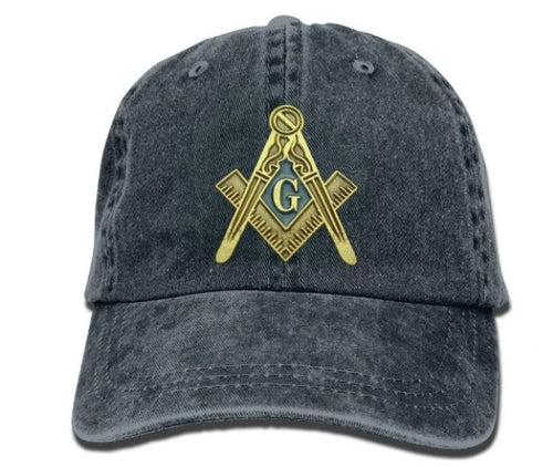 Square Compass G Masonic Symbol Adjustable Denim Baseball Cap