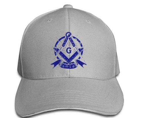 Square Compass G Blue Masonic Symbol Adjustable Baseball Cap
