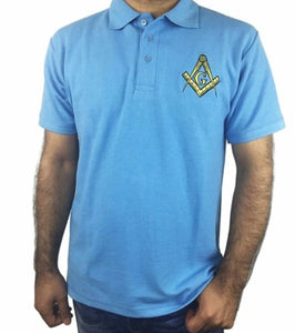 Classic Polo Shirt with Embroidered Square Compass & G [Multiple Colors]