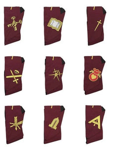 Masonic Blue Lodge 14th Degree Collars- Set of 9 collars Machine Embroidered