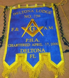 Gold Wire Handmade Embroidered Masonic Banners