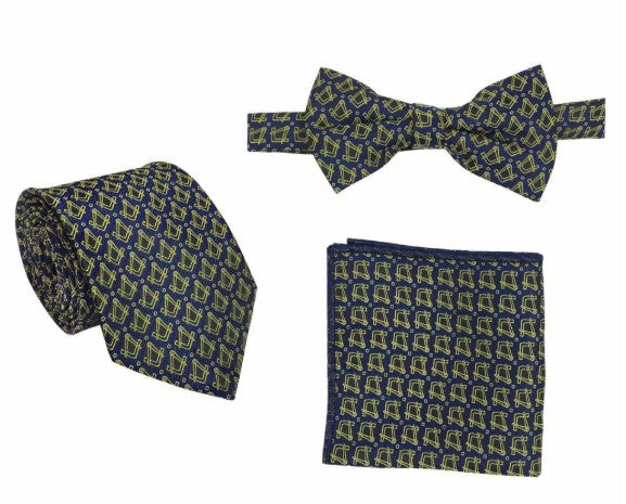 Masonic Regalia Tie, Bow Tie and Handkerchief Set