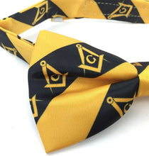 Load image into Gallery viewer, High Quality 100% Silk Masonic Bow Tie Yellow and Black