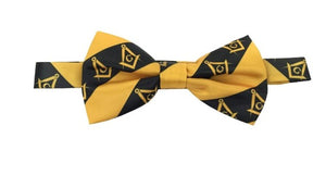 High Quality 100% Silk Masonic Bow Tie Yellow and Black
