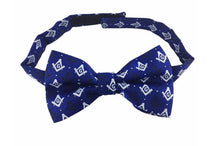 Load image into Gallery viewer, Masonic Regalia 100% Silk woven Bow Tie with Square Compass & G Blue