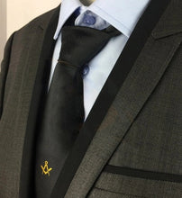 Load image into Gallery viewer, Masonic Regalia Masons Black Silk Tie with Gold embroidered Square Compass Logo