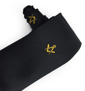 Masonic Regalia Masons Black Silk Tie with Gold embroidered Square Compass Logo