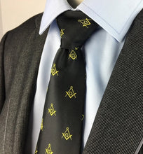 Load image into Gallery viewer, Masonic Regalia Craft Masons Silk Tie Embroided Square Compass & G Lodge Gift