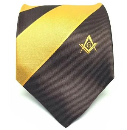 Masonic Masons Brown and Yellow Tie with Square Compass & G