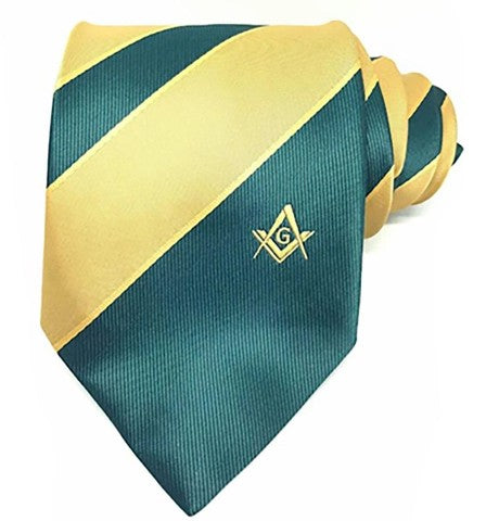 Masonic Masons Green and Yellow Tie with Square Compass & G