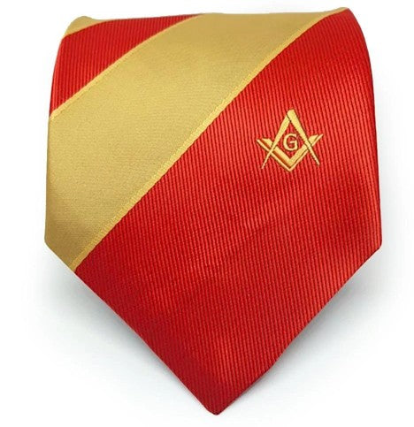 Masonic Masons Red and Yellow Tie with Square Compass & G