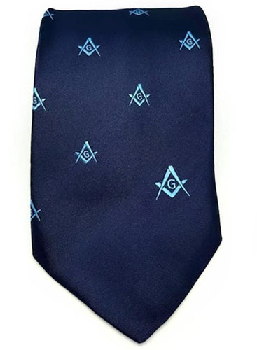 Masonic Regalia Craft Masons Silk Tie Embroidered Square Compass & G Blue