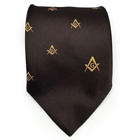 Masonic Regalia Craft Masons Silk Tie Embroidered Square Compass & G Brown
